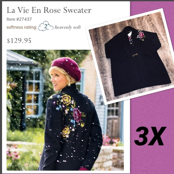 e6ace1cef1895 Soft Surroundings Sweaters | Nwt La Vie En Rose Cardigan 3x | Poshmark